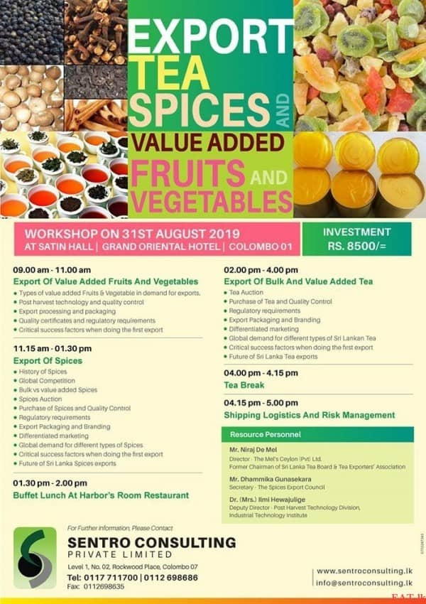 Workshop on Export Tea Spices and Value added Fruits & Vegetables