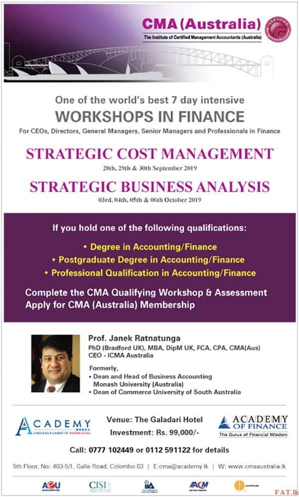 Certified Management Accountants Australia- Qualifying Workshop 2019