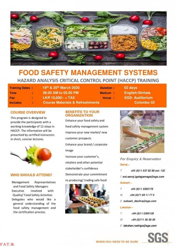 Hazard Analysis Critical Control Point (HACCP) Training