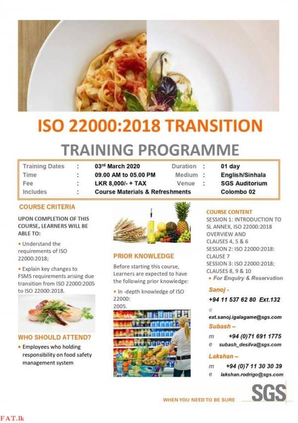 ISO 22000:2018 Transition Training Programme