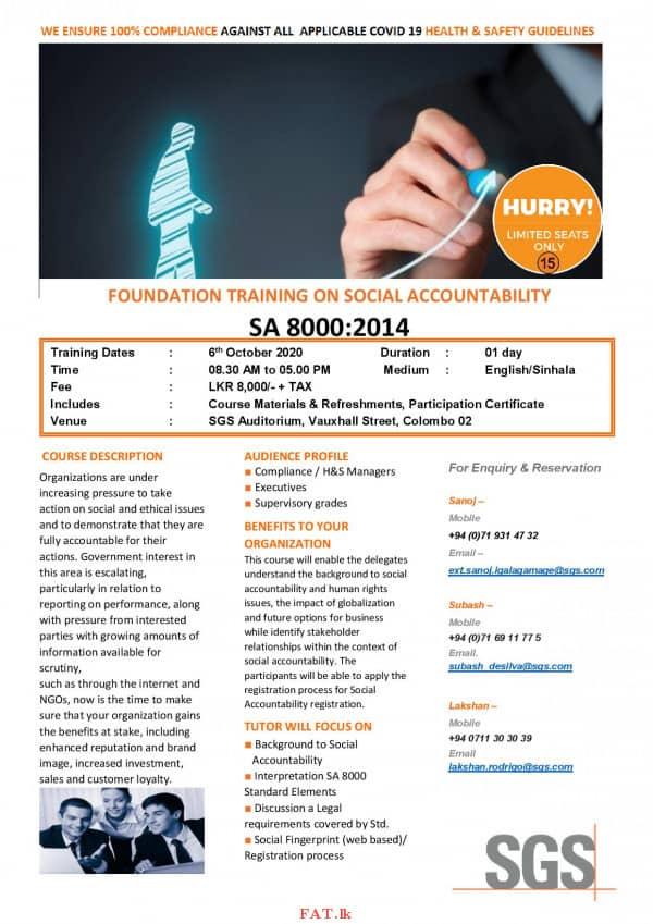 Foundation Training on Social Accountability SA 8000:2014
