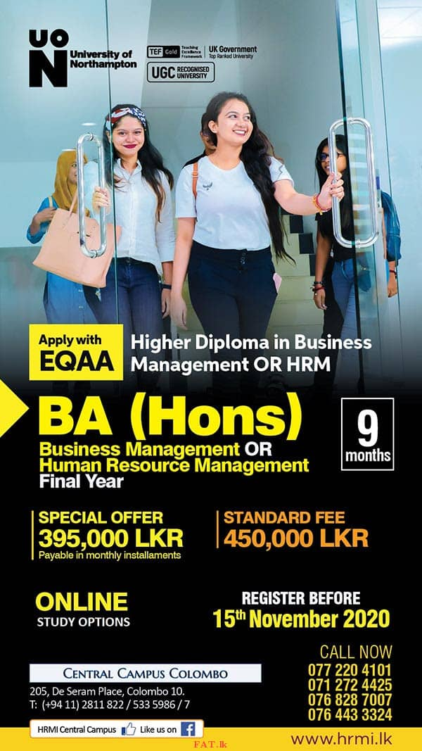 Higher Diploma in Business Management OR HRM