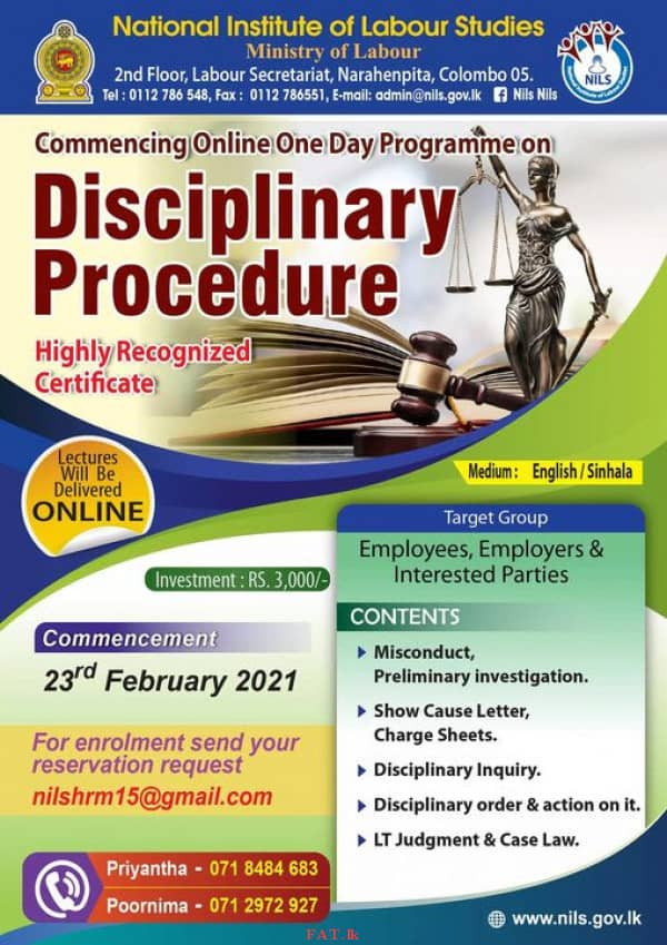 Online one day programme on Disciplinary Procedure