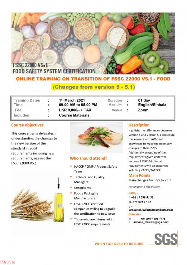 Online Training on Transition of FSSC 22000 V5.1 - Food
