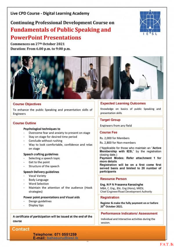 Fundamentals of Public Speaking and PowerPoint Presentations