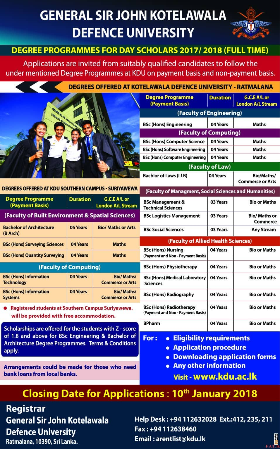Degree programms offered by KDU - General Sir John Kotelawala Defence University