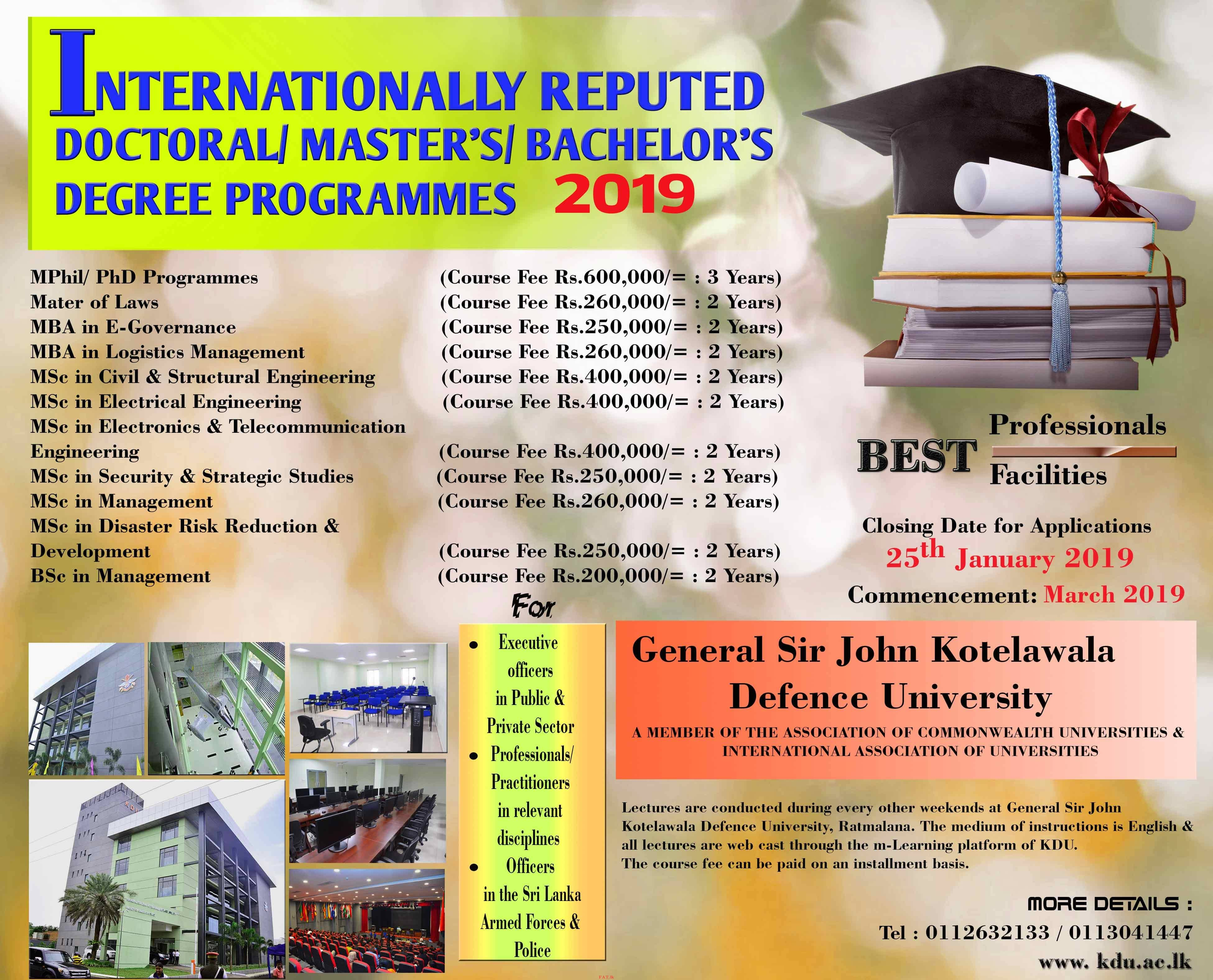 Full Time Degree programmes offered by KDU - 2018/2019