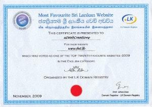 Bestweb 2009 - Certificate