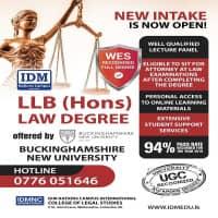 LLB (Hons) from Bucks New University, UK