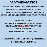 Mathematics grade 6-11 English / Sinhala medium home visit individual classes