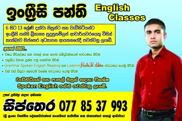 English / Spoken English / Maths / Tamil and Sinhala online and home visiting classes in Piliyandalamt2