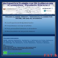 Mathematics Classes for Cambridge, Edexcel Curriculums for Year 10, (O/L), (AS) & (A/L)