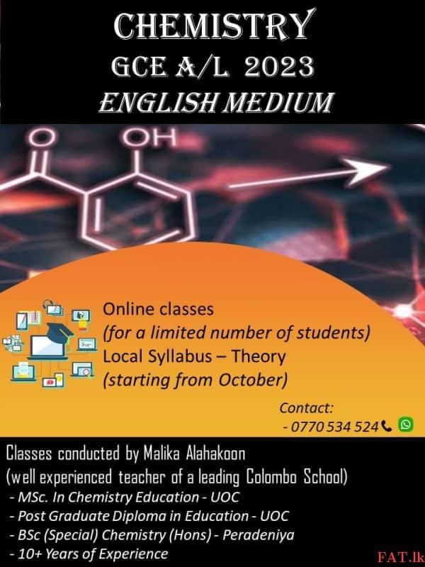 Chemistry Online Classes - A/L 2023 English Mediumm1