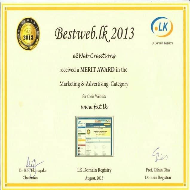 Bestweb.lk 2013 - Marketing & Advertising Category - Merit Award